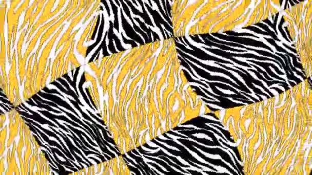 Zökkenőmentes fiatal animáció pszichedelikus zebra print duotono színekkel.Art kollázs leopárd és zebra minta savas turbulencia háttér.