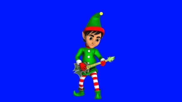 Roztomilý elf hrající na rockovou kytaru izolovanou na modré obrazovce. Bezešvé legrační vánoční animace s chromou