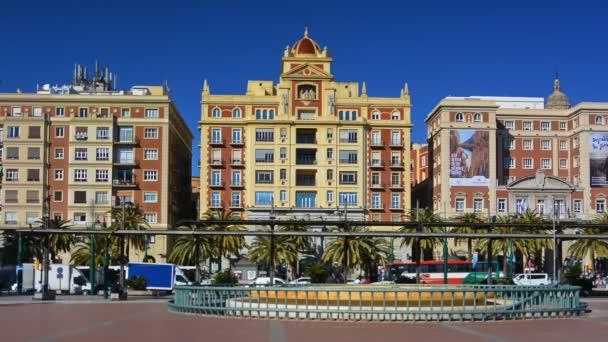 Malaga, Spain. Circa january 2018. view of Plaza de la Marina (Marina square) in the historic centre.