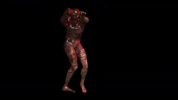 Creepy seamless animation of horror zombie creature walking. Halloween background of a monster character isolated with alpha channel