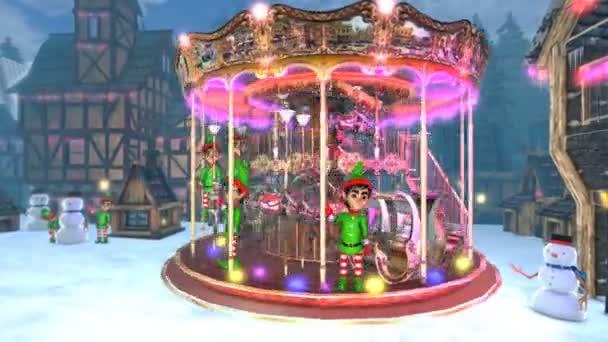 Vánoční vesnička s kartuší a elfy. Bezešvé legrační vánoční animace.