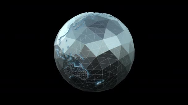 Seamless 4K animation of low poly rotating metal earth globe with black background. Seamless metal retro futuristic animation with alpha channel