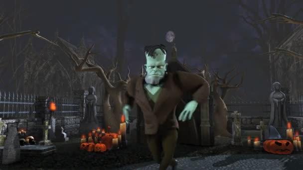 nahtlose Animation von frankenstein monster beim Salsa tanzen auf einem Friedhof. lustige halloween 4k Hintergrund.