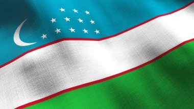 Uzbekistan waving flag. Seamless cgi animation highly detailed fabric texture in cinematic slow motion. Patriotic 3d background of country symbol or government concept. Sport competition backdrop.