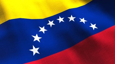 Venezuela waving flag. Seamless cgi animation highly detailed fabric texture in cinematic slow motion. Patriotic 3d background of country symbol or government concept. Sport competition backdrop.