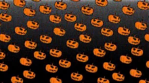 Animace dýní. Vtipné kreslené postavičky pro Halloween pozadí.