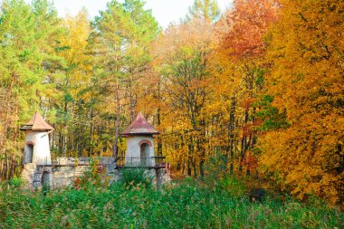 An old ruined and empty castle in the middle of the autumn forest.