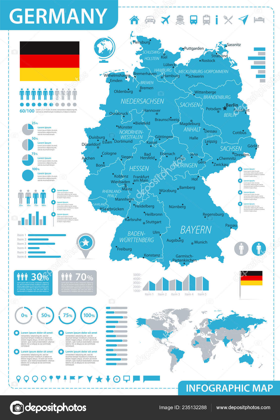 Map Of Germany 2000.Germany Map Blue Infographic Detailed Vector Illustration Stock