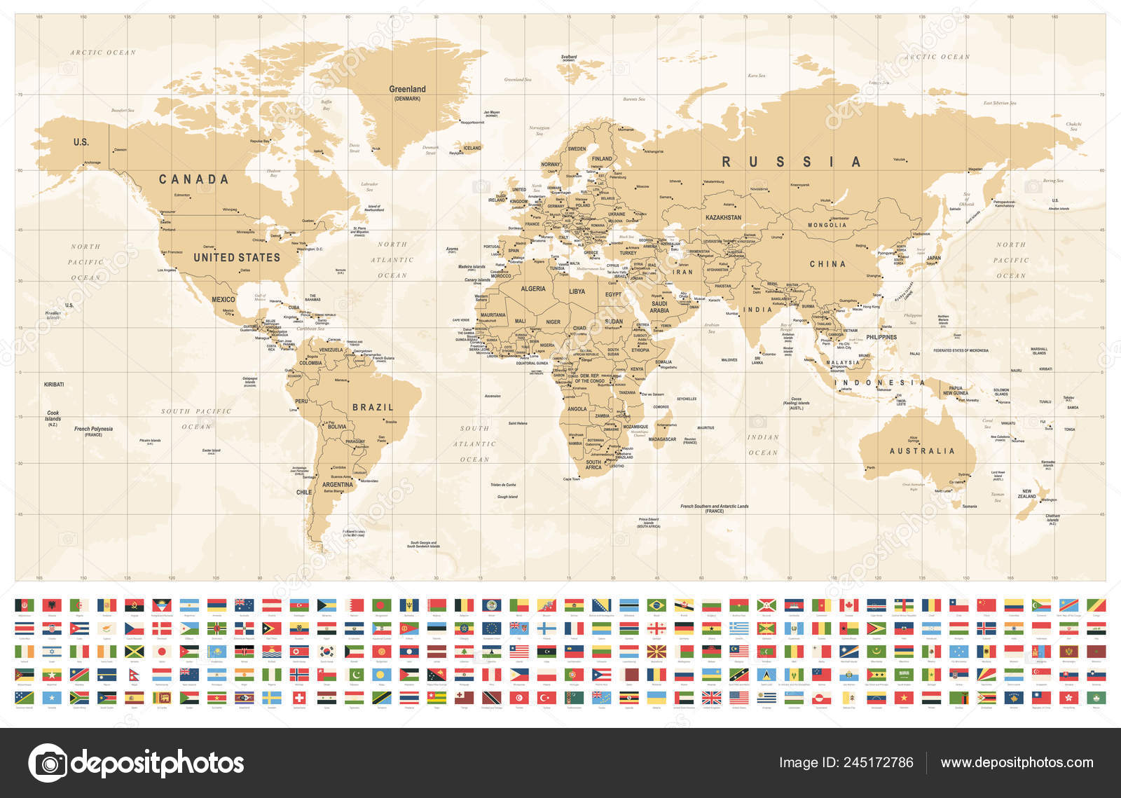World Map Flags Borders Countries Cities Vintage Vector ...