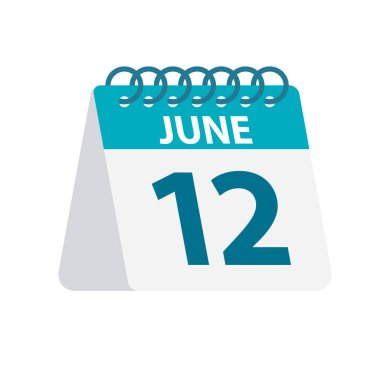 June 12 - Calendar Icon. Vector illustration of one day of month. Desktop Calendar Template