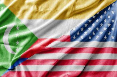 Mixed USA and Comoros flag, three dimensional render