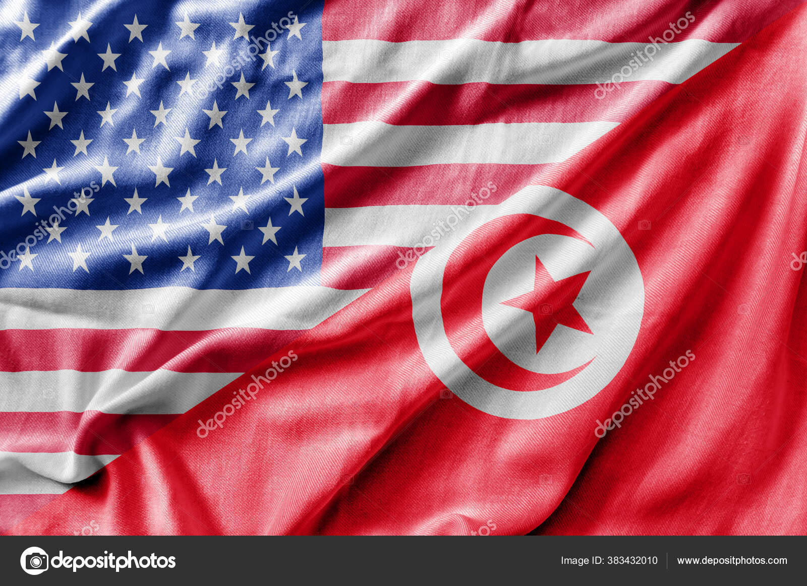 Mixed Usa Tunisia Flag Three Dimensional Render Stock Photo C Bennian 383432010