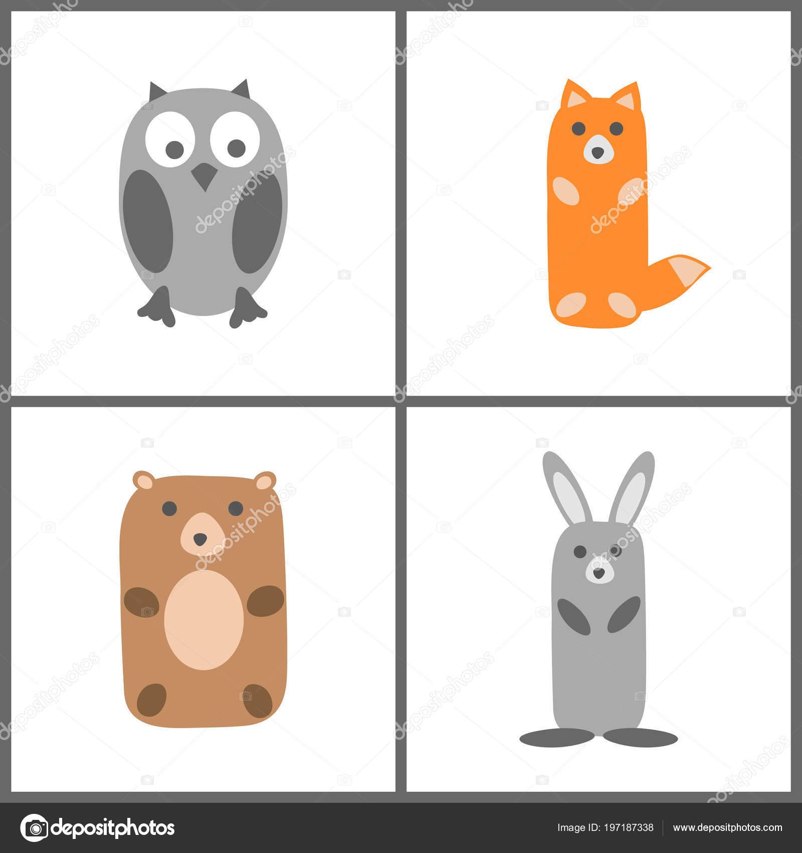 Lesni Zviratka Sada Rucni Kresba Detskem Stylu Vektorove Ilustrace