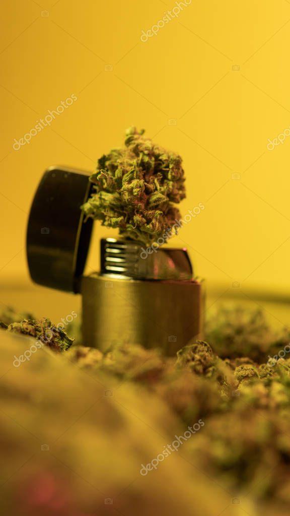 lighter and marijuana close-up. Smoking weed club