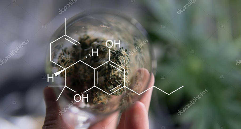 marijuana buds in glass.  medical recipe for smoking marijuana