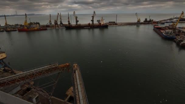 TimeLapse a hajó kikötése: seaport nagy gabona Siló terminálnál. Gabonafélék elkészítése tömeges átrakodás hajó. Teherszállító és vontatóhajó be kikötő. Mezőgazdasági termékek szállítása