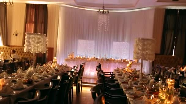 Clip pack, sequence. Wedding banquet hall interior details ...