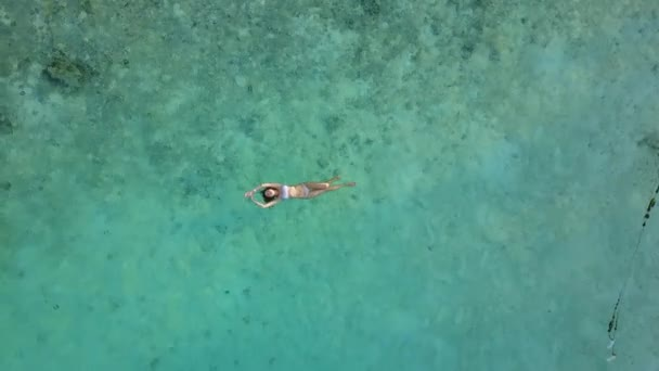 Luftaufnahme einer attraktiven Frau im Bikini, die im kristallklaren Meer schwimmt. hübsches Mädchen schwimmt im Indischen Ozean