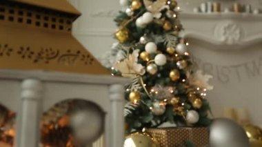 Witte Kerst Huis : Klassieke witte kerst interieur achtergrond u stockvideo