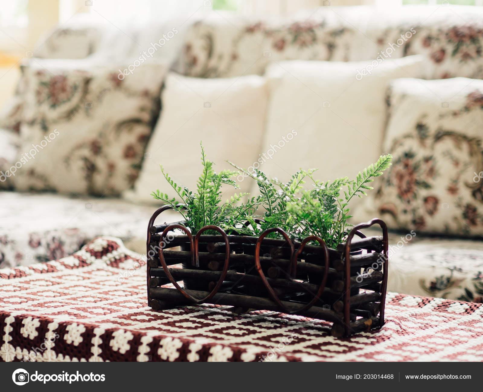 Fake Plastic Plants Decorated Table Sofa Set Living Room U2014 Stock Photo