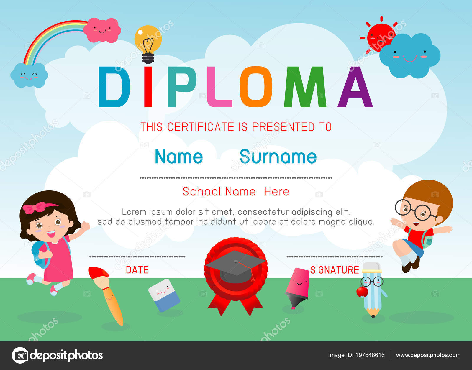 certificates kindergarten elementary preschool kids diploma