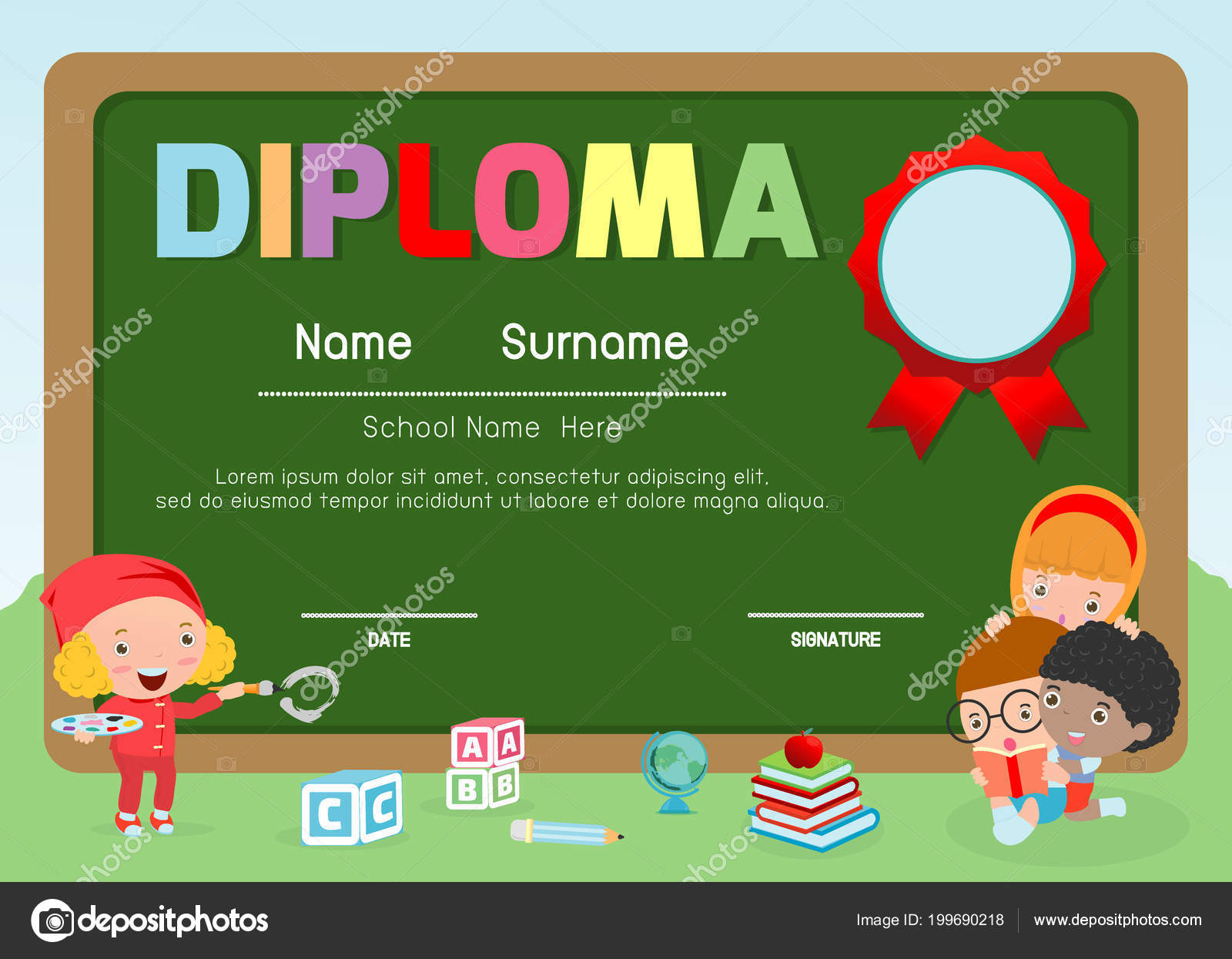 Certificados Preescolar Primaria Preescolar Los Niños Diploma ...