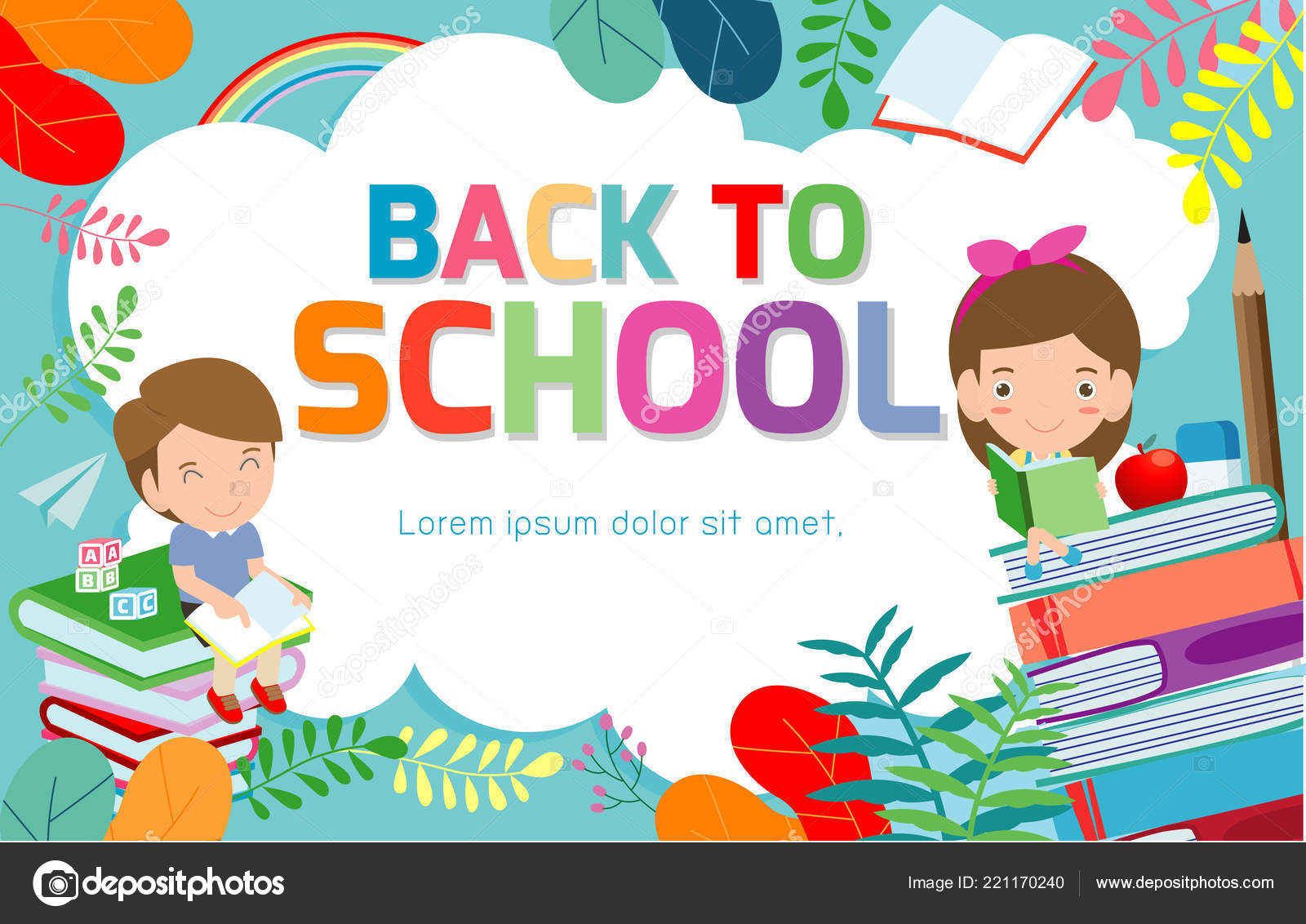 Back School Banner Background Welcome Back School Children Reading Book Stock Vector C Phanuchat10700 Gmail Com 221170240