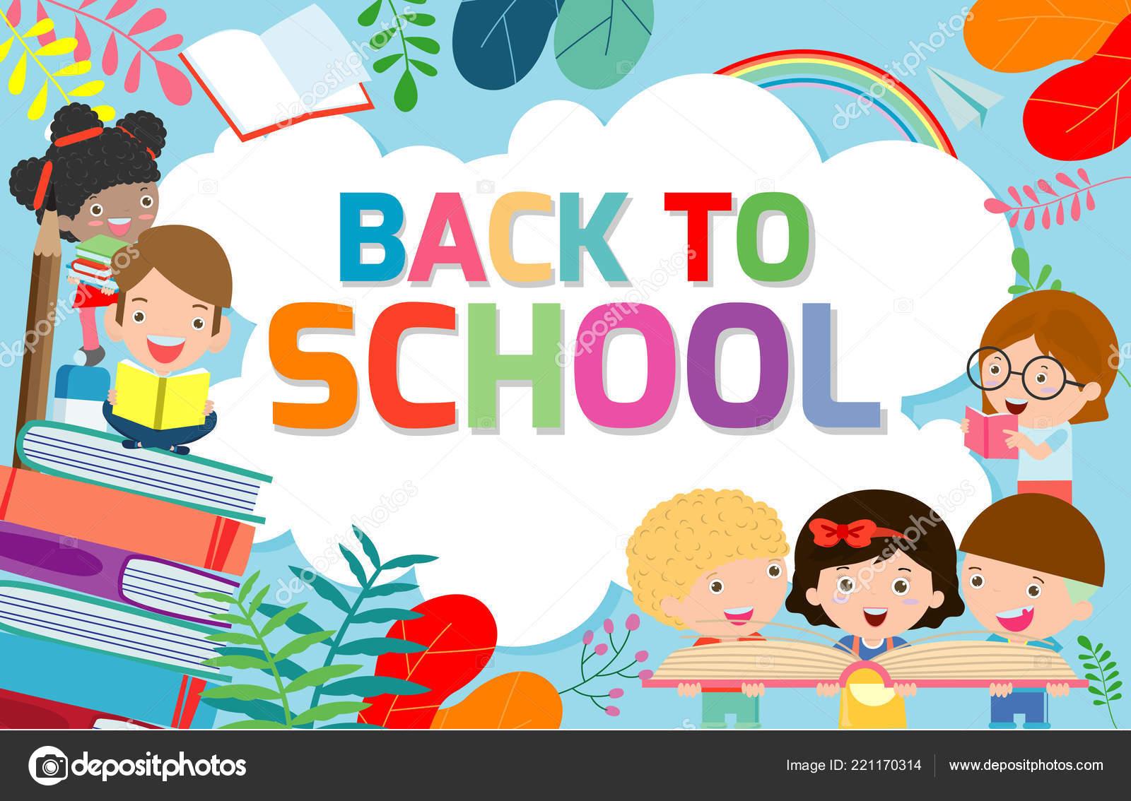 Back School Banner Background Welcome Back School Children Reading Book Stock Vector C Phanuchat10700 Gmail Com 221170314