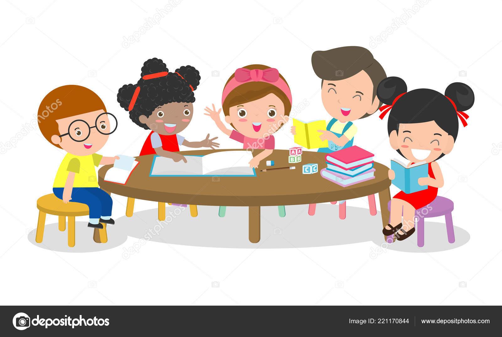 Round Table La Mesa.Pupils Study Classroom Boys Girls Sitting Table Children Reading