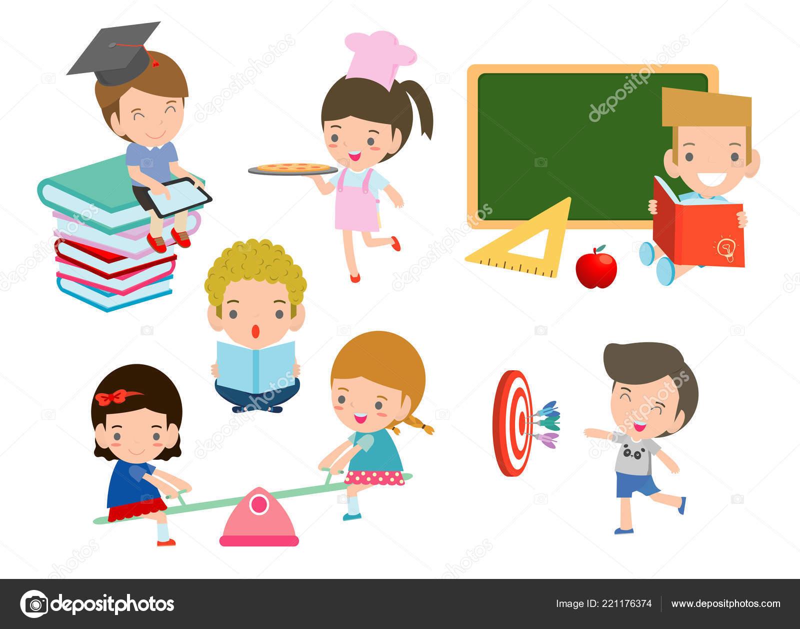 Conjunto Niños Escuela Concepto Educación Niños Dibujos