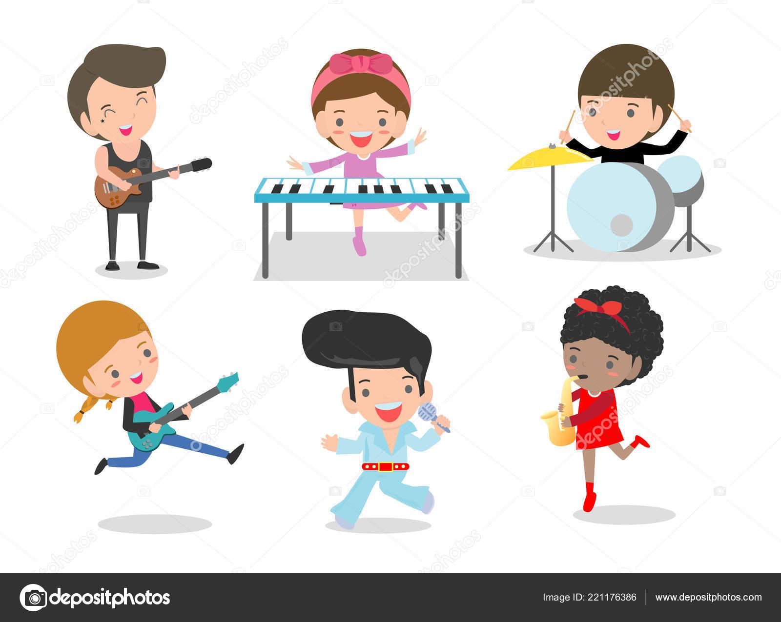 Kids Music Children Playing Musical Instruments Set Kids Playing