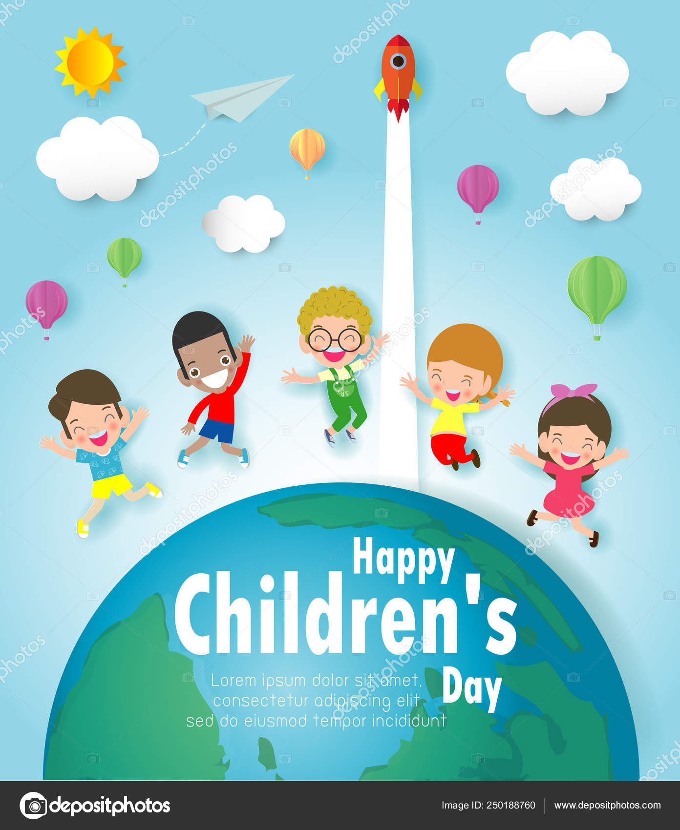 Happy Children Day Background Group Kids Jumping Globe Paper Cut
