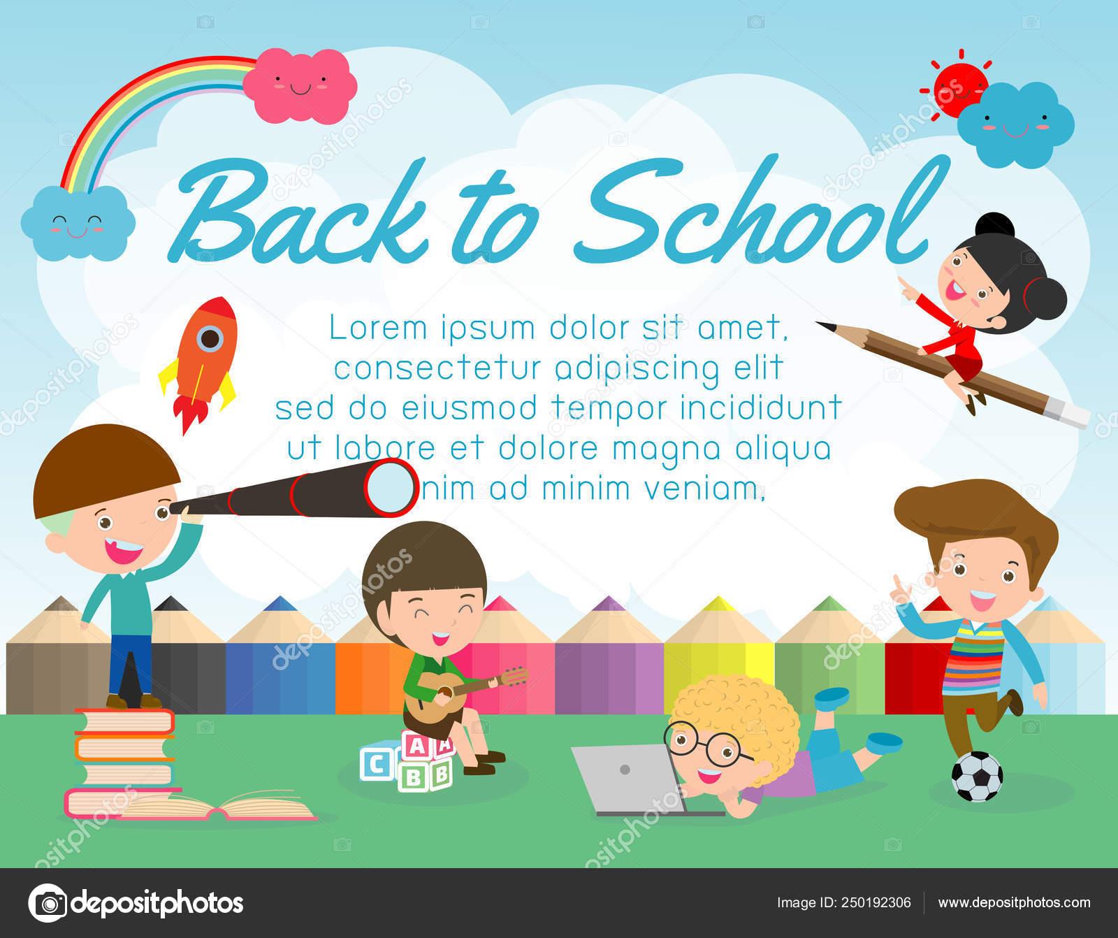 Back School Banner Background Welcome Back School Cute School Kids Stock Vector C Phanuchat10700 Gmail Com 250192306