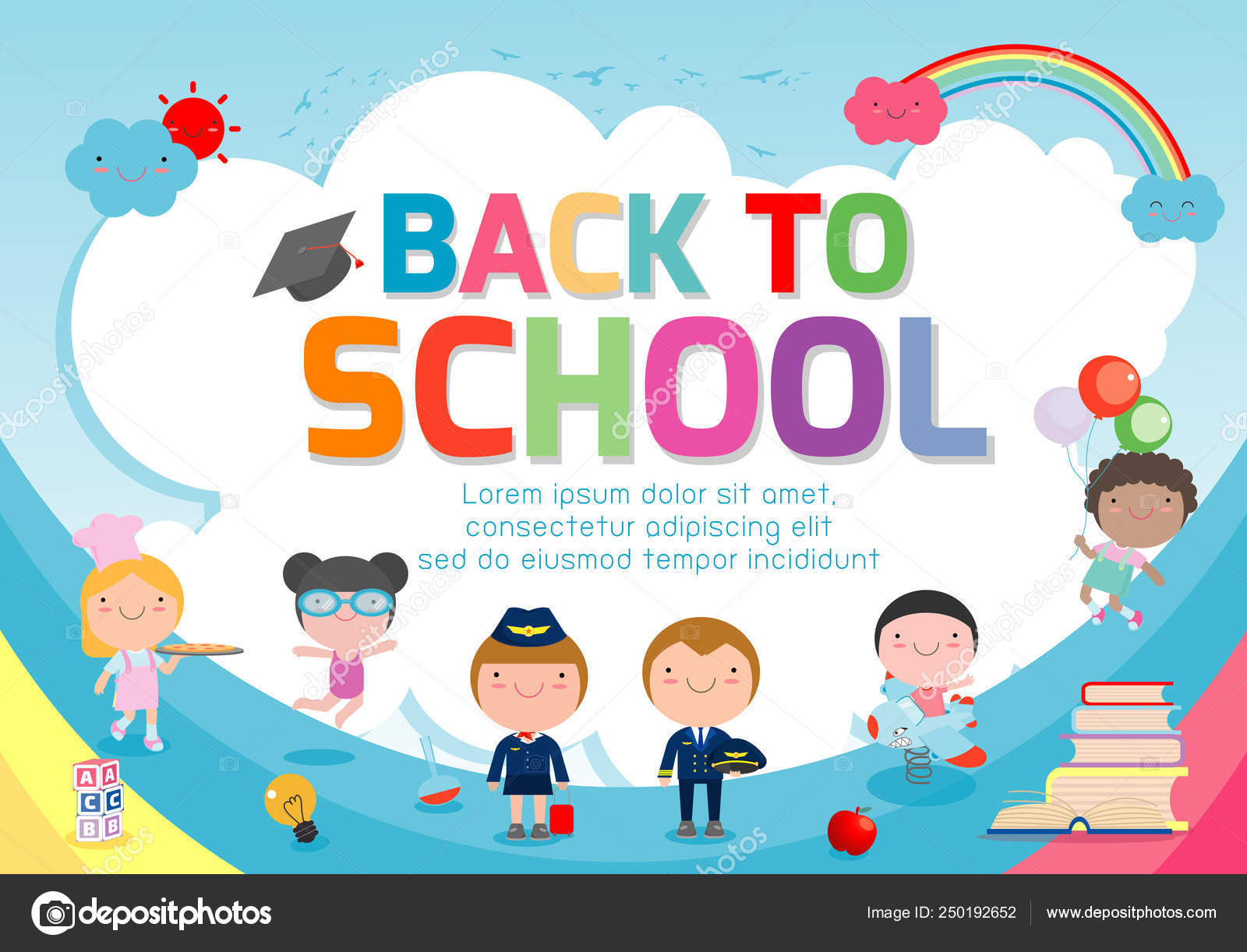 Back School Banner Background Welcome Back School Cute School Kids Stock Vector C Phanuchat10700 Gmail Com 250192652