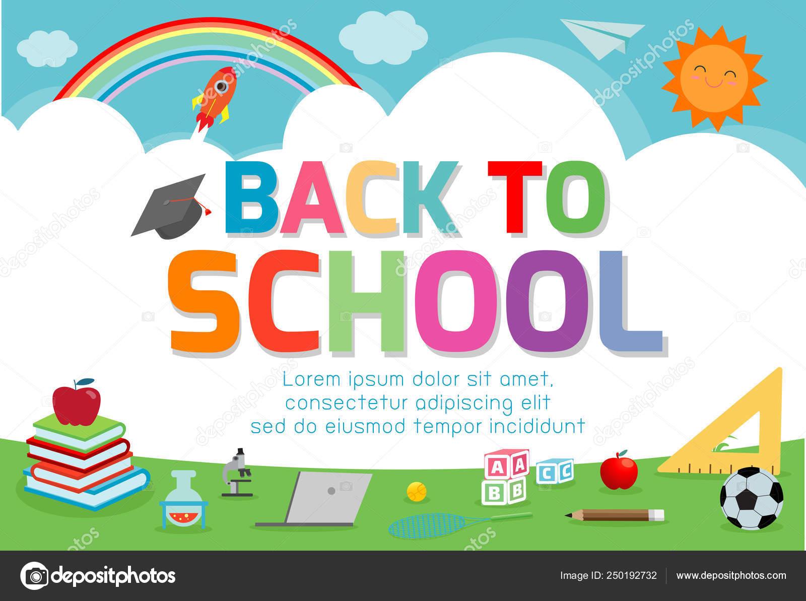 Back School Banner Background Welcome Back School Cute School Kids Stock Vector C Phanuchat10700 Gmail Com 250192732