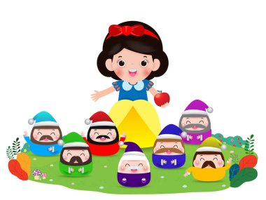 Snow white and the seven dwarfs, Snow White isolated on white background, Princess and Dwarfs Vector Illustration clip art vector