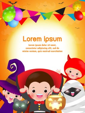 Happy Halloween Kids Costume Party. Group of children in Halloween costume jumping. Template for advertising brochure. Happy Halloween party poster and theme design background Vector Illustration
