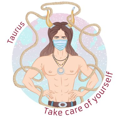 Zodiac. Vector illustration of the astrological sign of Taurus as a man with a naked torso. Portrait in medical mask. Concept of world epidemic. Man wearing protection element to prevent disease,flu. icon