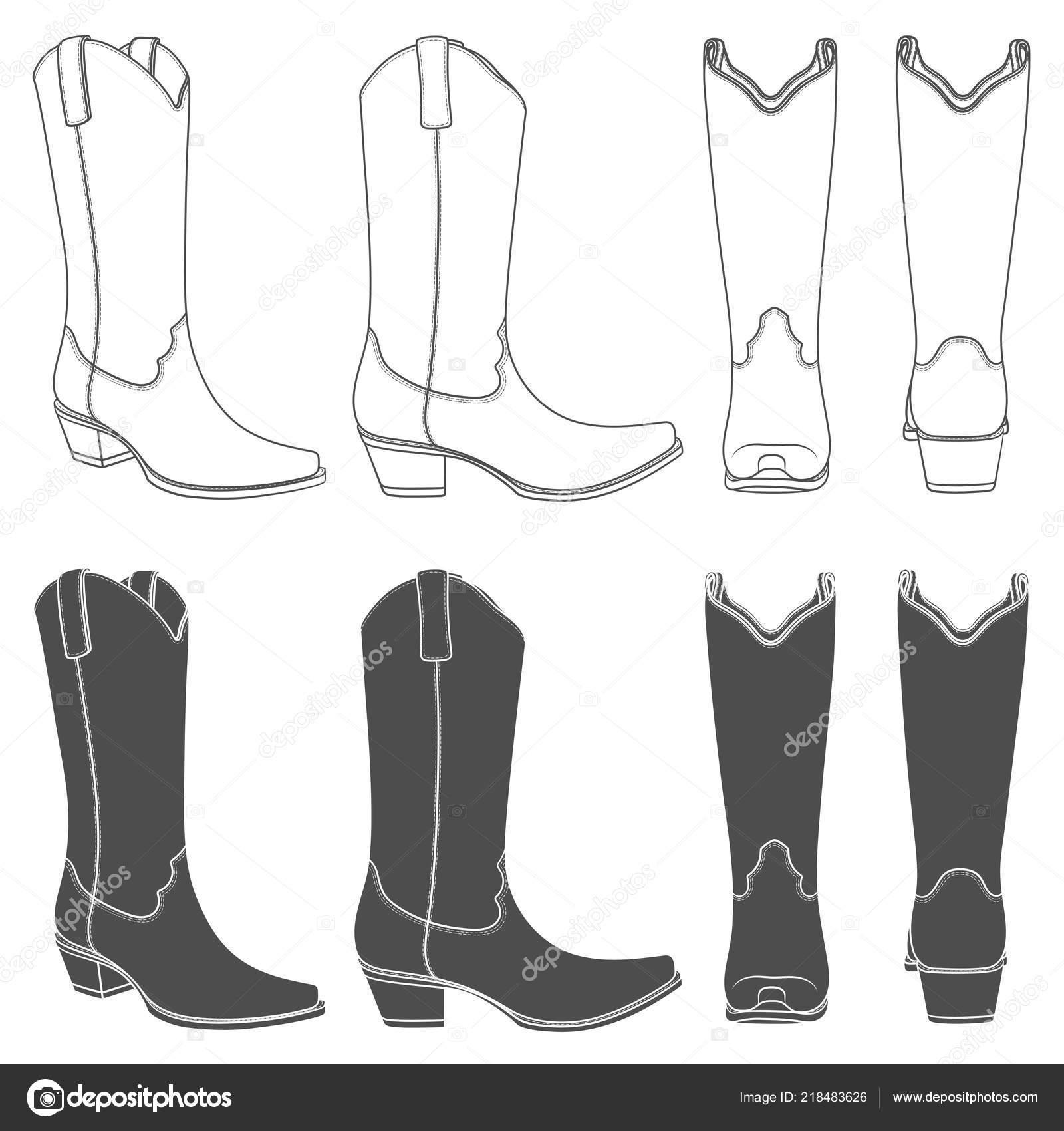 Conjunto Ilustraciones Blanco Negro Con Botas Cowboy Objetos