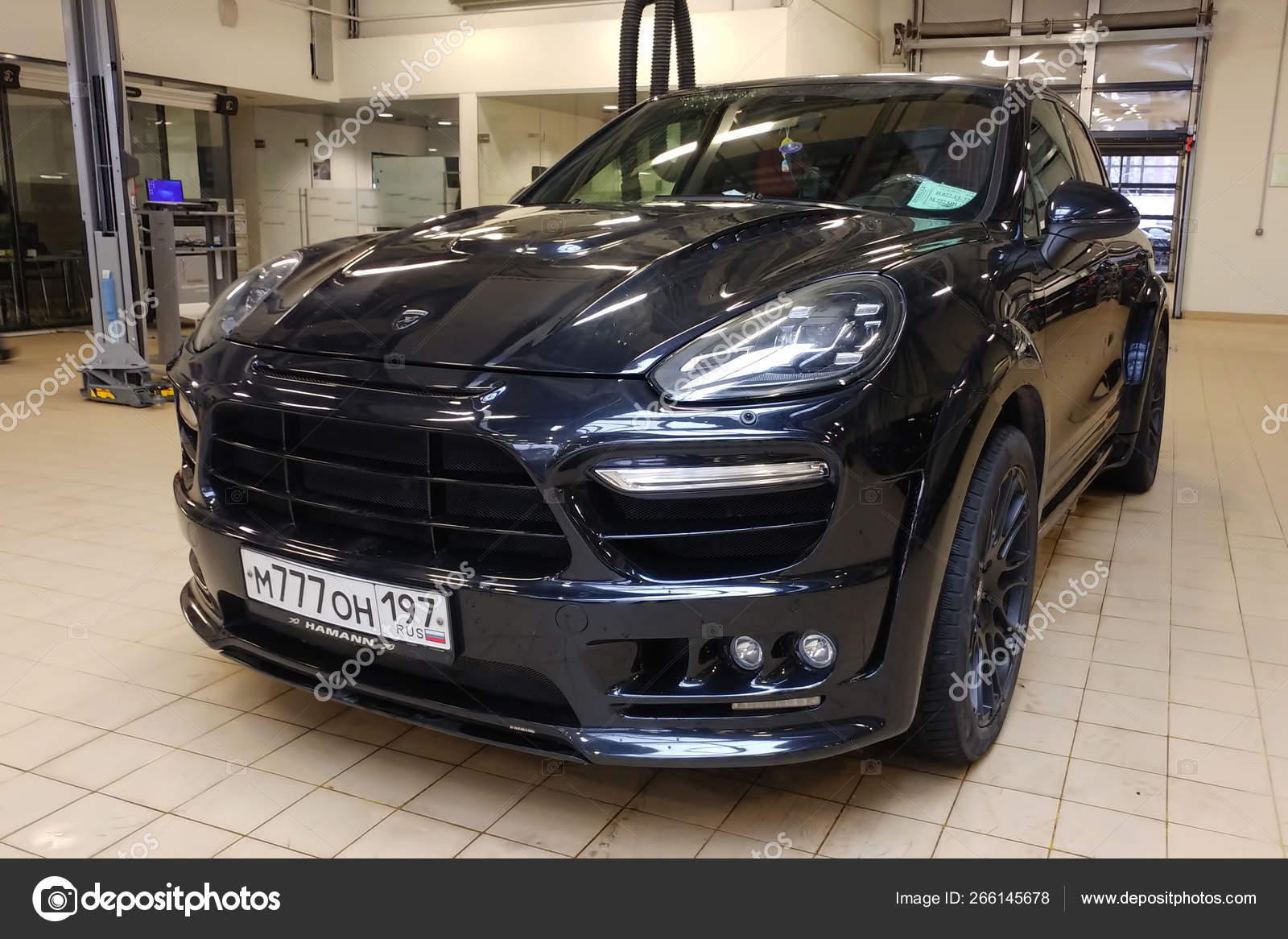 Moscow Russia April 30 2019 Tuned And Super Wide Black Porsche Cayenne In Service Center Modified By Hamann With Exclusive Bodykit Front View Stock Editorial Photo C Dven 266145678
