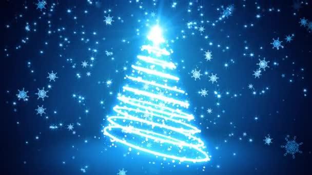 Modře zářící světlo šlehá vánoční strom
