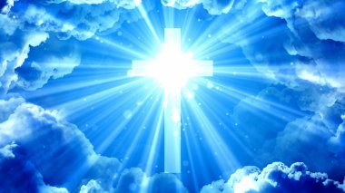 Worship and Prayer based cinematic clouds and light rays background useful for divine, spiritual, fantasy concepts.