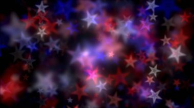 US Patriotic background with defocused  floating starlight bokeh particles.