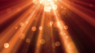 Abstract bokeh Particles with shining light rays background suited for broadcast, commercials and presentations.
