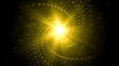 Twirled glowing streaks with lens flare in center background which is suited for broadcast, commercials and presentations.