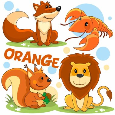 Set of wild animals of orange color for children and design. Image of fox characters, cancer, squirrel, lion.