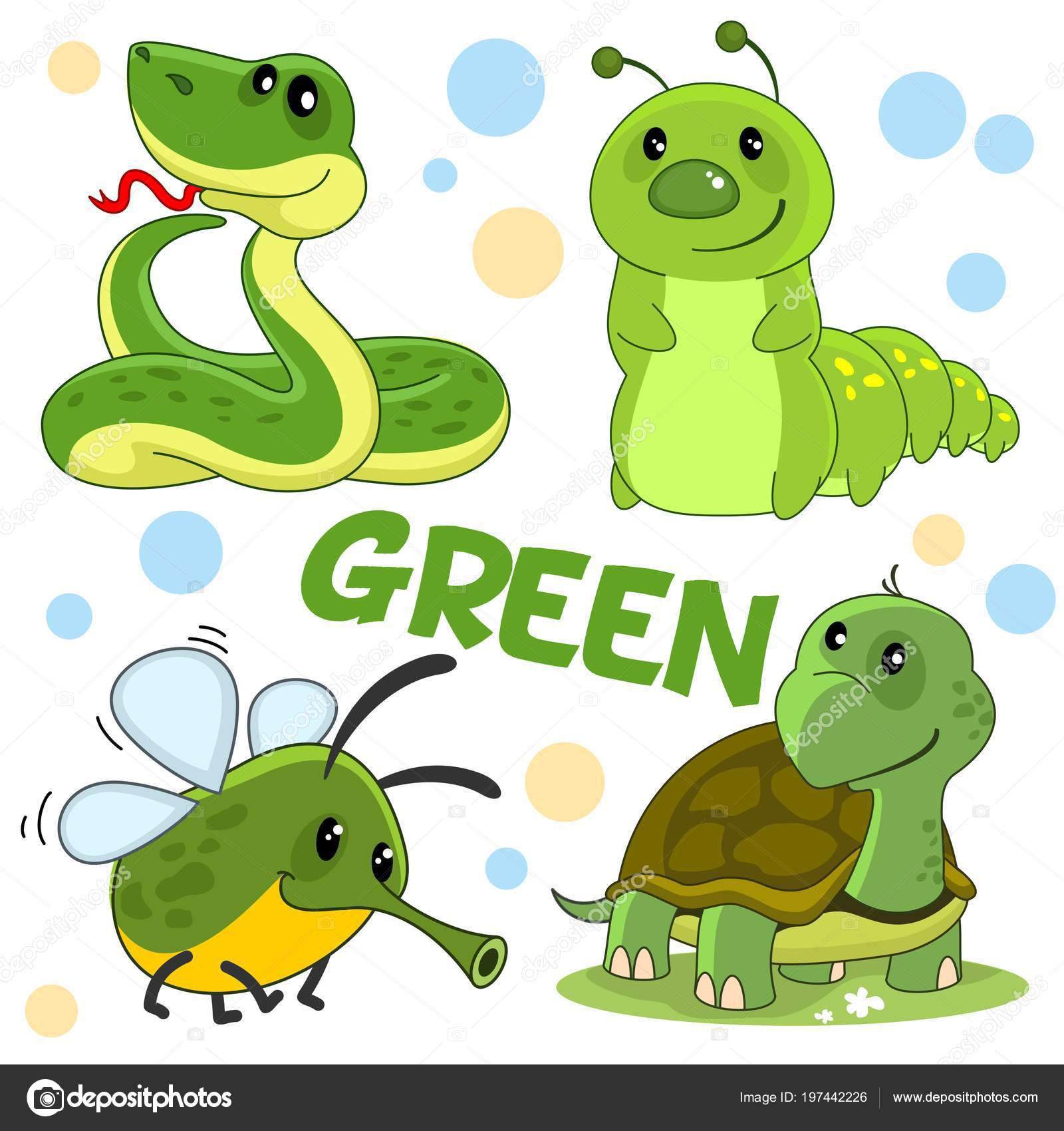 Conjunto Animales Salvajes Insectos Reptiles Color Verde Para Los ...