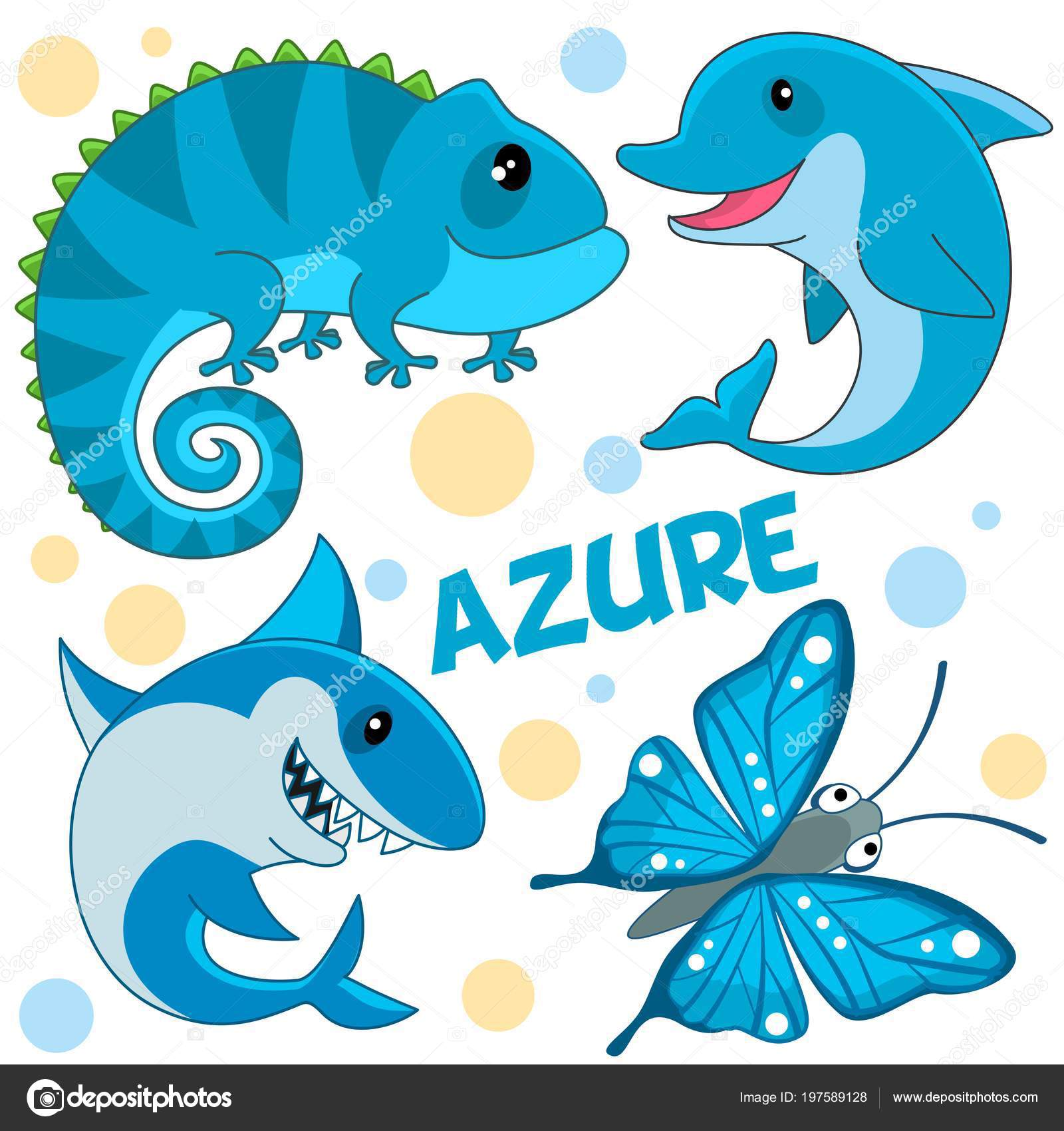 Set Wild Marine Animals Reptiles Insect Azure Color Children Design ...