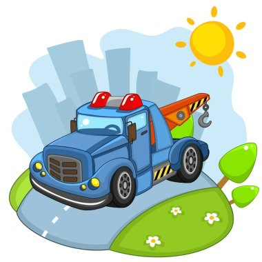 A large cargo building blue car with large wheels and headlights and a siren rides on the road in the city.