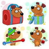 Set of cartoon icons for kids and dogs design. A puppy in a carrying bag, a surprise comes out of a gift box, keeps a thermometer in a hat and a scarf, is sick and holds a potion.